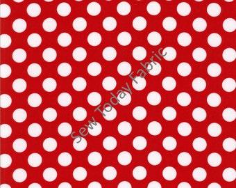 Ta Dot Minnie (White dots on Red) -  Michael Miller CX1492-MINN-D (sold by the 1/2 yard)