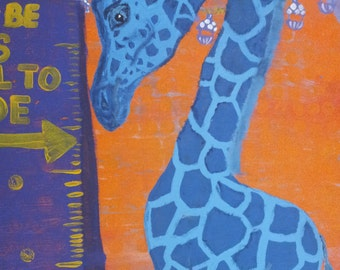 "Too Tall or Not Enough original acrylic painting giraffe and penguin carnival 24""x48"""