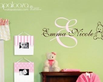 Nursery Wall Art - Girl's Name Wall Decal - Children's Wall Decor - Personalized Name Wall Decal - Teddy bear decal - Nursery Decor