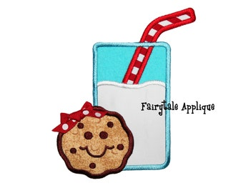 Digital Machine Embroidery Design - Milk 'n Cookies Applique