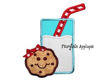 Digital Machine Embroidery Design - Milk 'n Cookies Applique