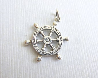 Sterling Silver Nautical Wheel Charm -- 1 Piece -- Ship Wheel Pendant or Connector