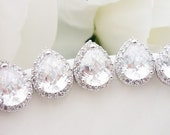 15% OFF SET of 6 Bridesmaid Gift Bridesmaid Jewelry Wedding Jewelry Bridal Jewelry Clear White LUX Cubic Zirconia Tear Drop Stud Earrings