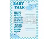 Elephant Baby Shower Game, Boy Elephant Printable Baby Shower Game, Blue Elephant Theme Baby Shower, Baby Word Scramble, Instant Download
