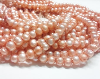 1 STRAND Freshwater Pearls Sandy Coral