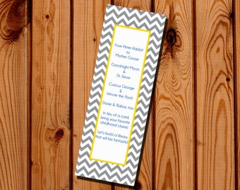 Baby Shower Bring a Book Poem Bookmark Chevron Digital File, IMMEDIATE DOWNLOAD