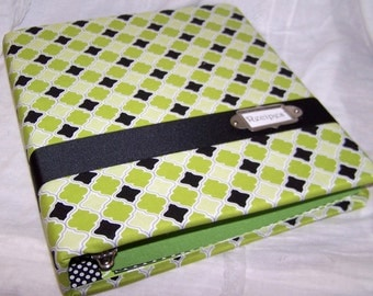 Recipe Binder,Recipe Dividers, Black and Green Medallion Fabric, Modern Fabric Covered Recipe Notebook