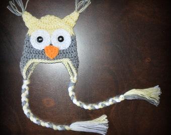 Crochet Owl Earflap Baby Beanie Hat  Photo Prop Custom Made Boy Girl
