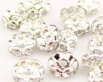 100pcs 6mm Silver Rhinestone Spacer Beads CRYSTAL CLEAR Rhinestone Rondelles B Grade Wavy Edge Diy Jewelry Making Free Combined Shipping