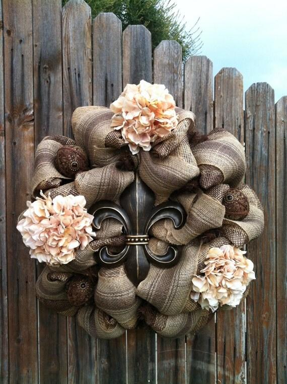 Deco Mesh Fleur De Lis Wreath Chocolate Brown Cream Flowers
