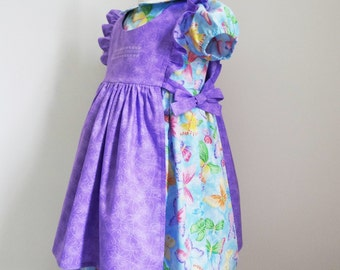 Girls Size 4 Dress Pinafore Butterfly Dress Lavender Pinafore Set