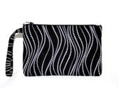 Wavy Dotted Lines Pouch Wristlet or Cross Body Bag Black White,  iPod Bag,  iPhone 4, 4s, 5, 6 Bag, Digital Camera Bag, Small Tech Bag