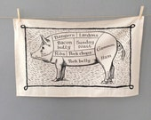 Black Pig Cuts Butchers' Tea Towel