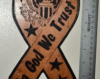 In God We Trust Ribbon Scroll Saw Wall Plaque