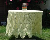 RESERVED LISTING--Yellow Crocheted Table Cover// Table Cloth// 1970's Table Covering