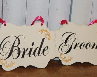 BRIDE - GROOM  Chair Signs/Scallop/Photo Prop/Great Shower Gift/Black/Ivory/Gold/Hot Pink