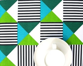 Tablecloth White Black Stripes Green Moss Green Turquoise Blue Triangles ,  Table Runner , Napkins ,