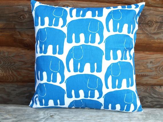 Decorative Pillow cover white bright blue Elephants Decorative