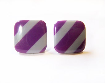 Vintage Purple and Gray Striped Square Acrylic Post Earrings / Gift for Her / D289