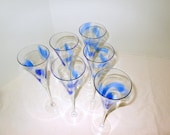 Cobalt Blue Champagne Glasses Swirl Trumpet Flutes 2 Piece Set @LootByLouise