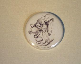 Large (pinback) button: ' Strange monster b '-(5,5 cm diameter) with self-designed image