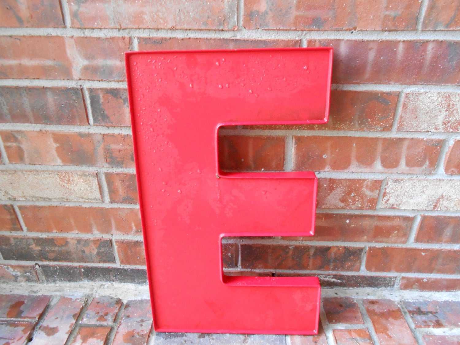 Large reclaimed red plastic sign block letter e by for Large acrylic block