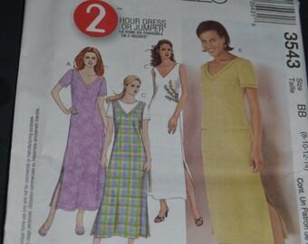 McCalls 3543 Misses-Miss Petite Dress or Jumper Sewing Pattern - UNCUT - Sizes  8 10 12 14