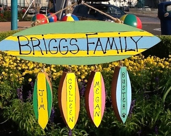 Personalized family name surfboard sign
