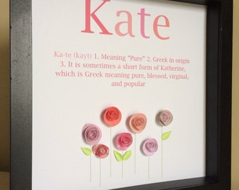 Name Meaning Art, 3D Paper Art Flower Garden , customize with your name, definition and color theme