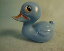 Vintage-1950-1960-Hard Plastic Duck Rattle-Tub Toy-So Cute