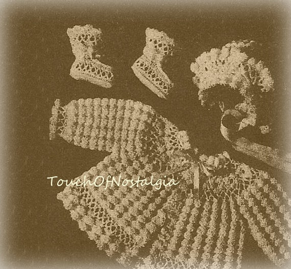 Crochet lacy baby layette sacque crochet pattern vintage - Crochet mural vintage ...