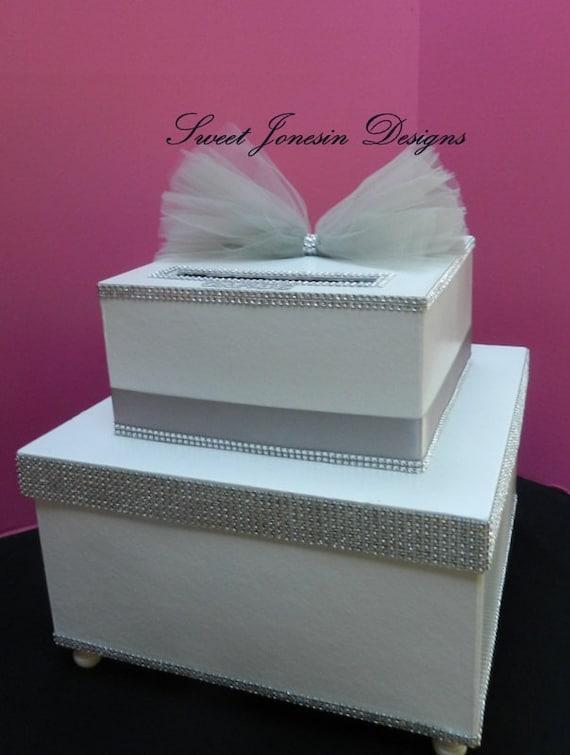 white  silver wedding card box bling ribbon sweet 16