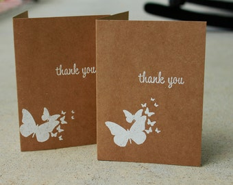Kraft Thank You Cards, Butterfly Thank You Cards, Rustic Thank You Cards, Blank Cards, Rustic Thank You Cards, Wedding Thank You- Set of 5