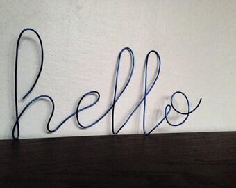 hello wall phrase colored aluminium wire