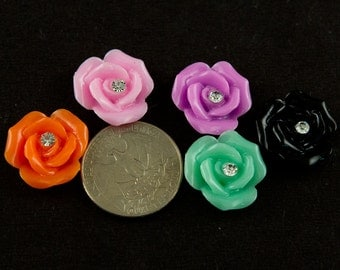 Rose With Rhinestone Resin Cabochon (12 pack)