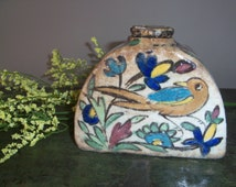 Incredible Antique Persian Ceramic Bottle Decanter with Stopper