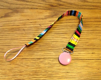 Candy Stripes Pacifier Clip