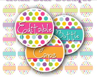INSTANT DOWNLOAD Editable Bottle Cap Images Digital Collage Sheet Bottlecap Images Hair Bow Supplies Editable Colored Polka Dots Sheet No.10