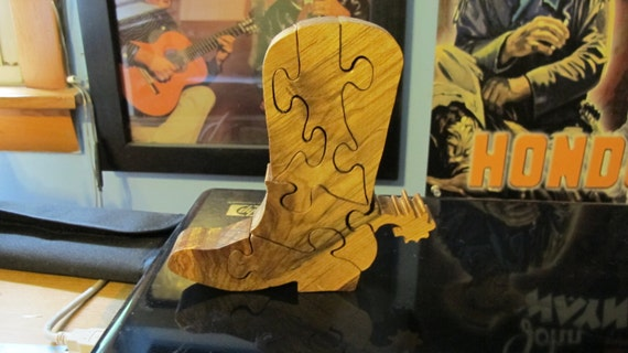 Cowboy Boot Wood Stand Up Puzzle