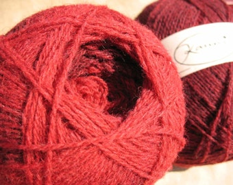 Shades of Red Kauni EM 2 ply wool sport weight yarn. Knit Crochet and Felt. Imported from Denmark. Ships from USA