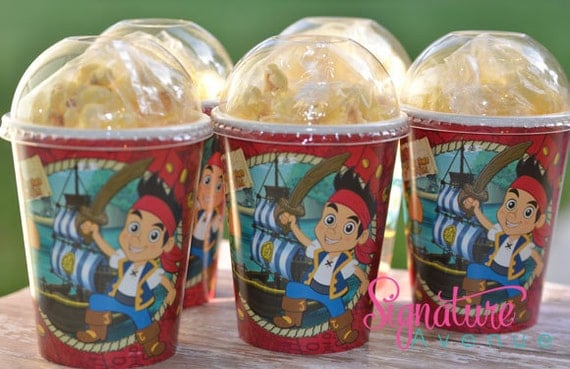 Jake and the Neverland Pirates Party- Birthday Party Cups-Popcorn Box-Set of 8