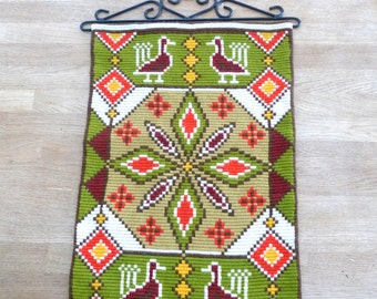 Vintage Swedish Wall Hanging - Scandinavian Embroidery Green Yellow Wool Wrought Iron Easter