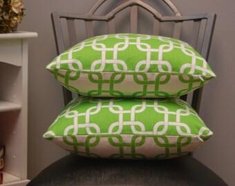 18 X 18 Throw Pillow Cover Bright Green Gotcha Print