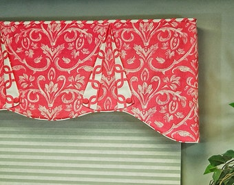 "Custom Window Valance CASEY Hidden Rod Pocket valance, fits 61"" - 78"" window, made using your fabrics, my LABOR and lining"