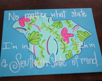 South Carolina painted canvas with Lilly Pulitzer print