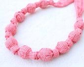 ORGANIC Fabric Statement Necklace,Teething Necklace, Chomping Necklace, Nursing Necklace -Weave Red