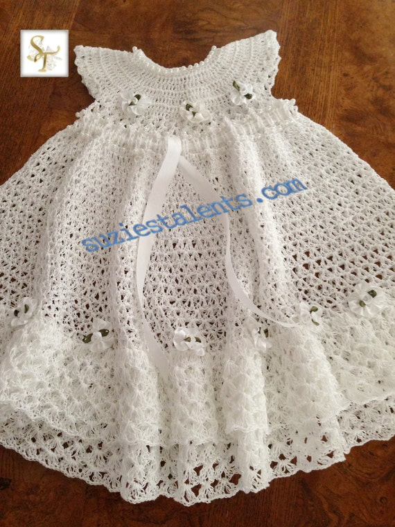 Free Crochet Patterns For Childrens Dresses : Baby Dress Girls Dress Baby Christening Dress by SuziesTalents