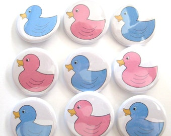 Gender Reveal Party  Party Favors Set of 20 1.25 inch Pin Back  Buttons Pink Blue Baby Shower Duck
