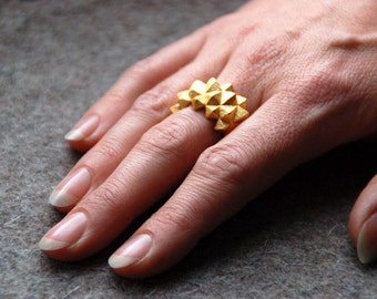 3D print gold statement ring Studs
