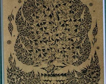 Thai traditional art of Bodhi tree by printing on sepia paper